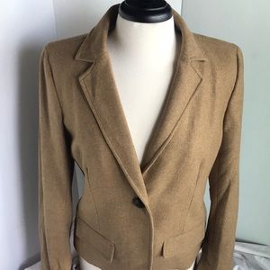 J. Crew 1-Button Wool Blend Beige Blazer Size 12